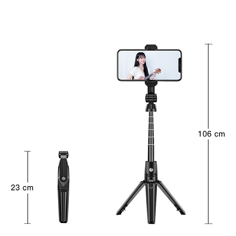 تصویر مونوپاد و تری پاد سه پایه نگهدارنده موبایل مناسب ساخت فیلم استوری و لایو اینستاگرام Selfie Stick Tripod K21 Extendable Selfie Stick Tripod K21 Bluetooth Wireless Remote For Cell Phone