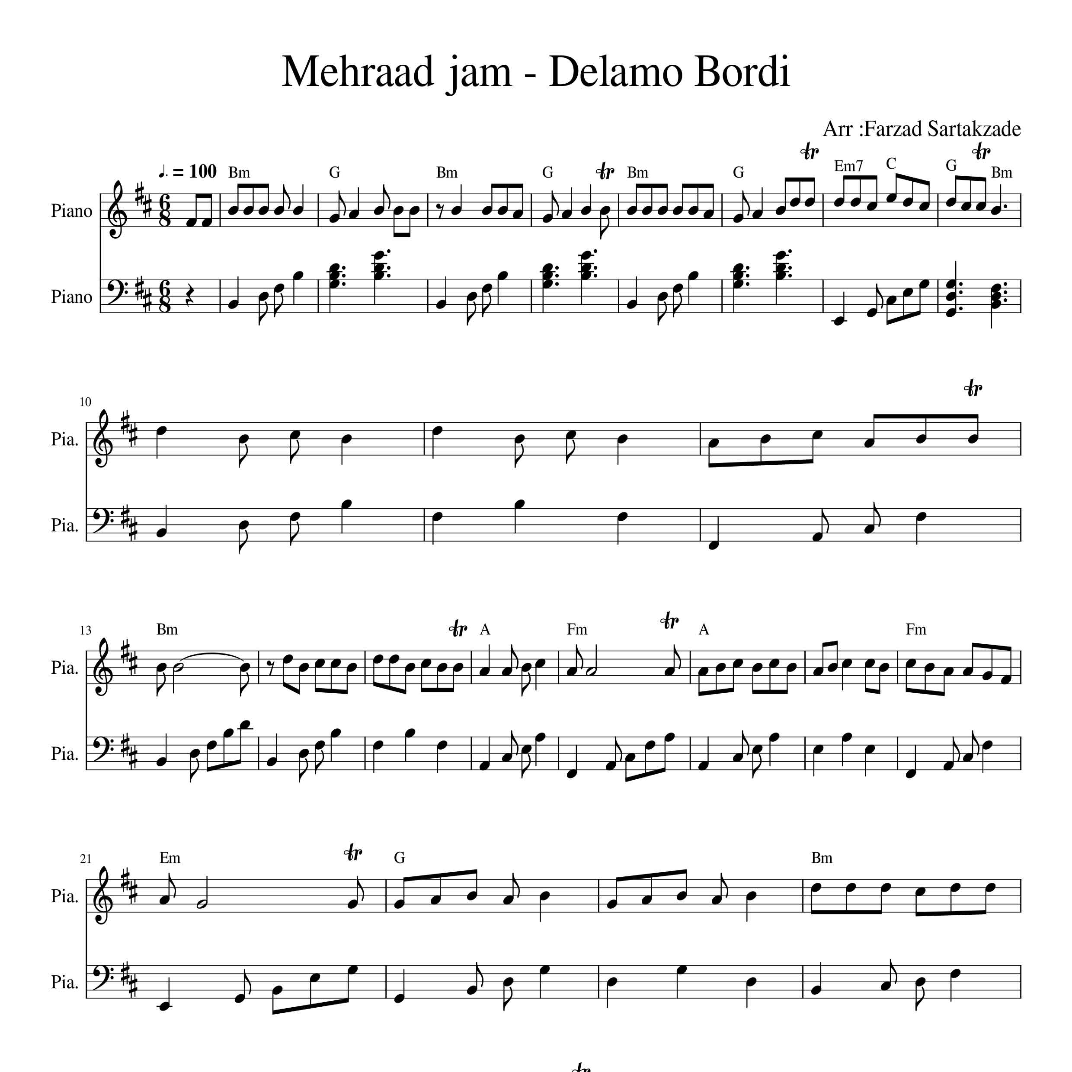 نت پیانو آهنگ دلمو بردی از مهراد جم به همراه آکورد |