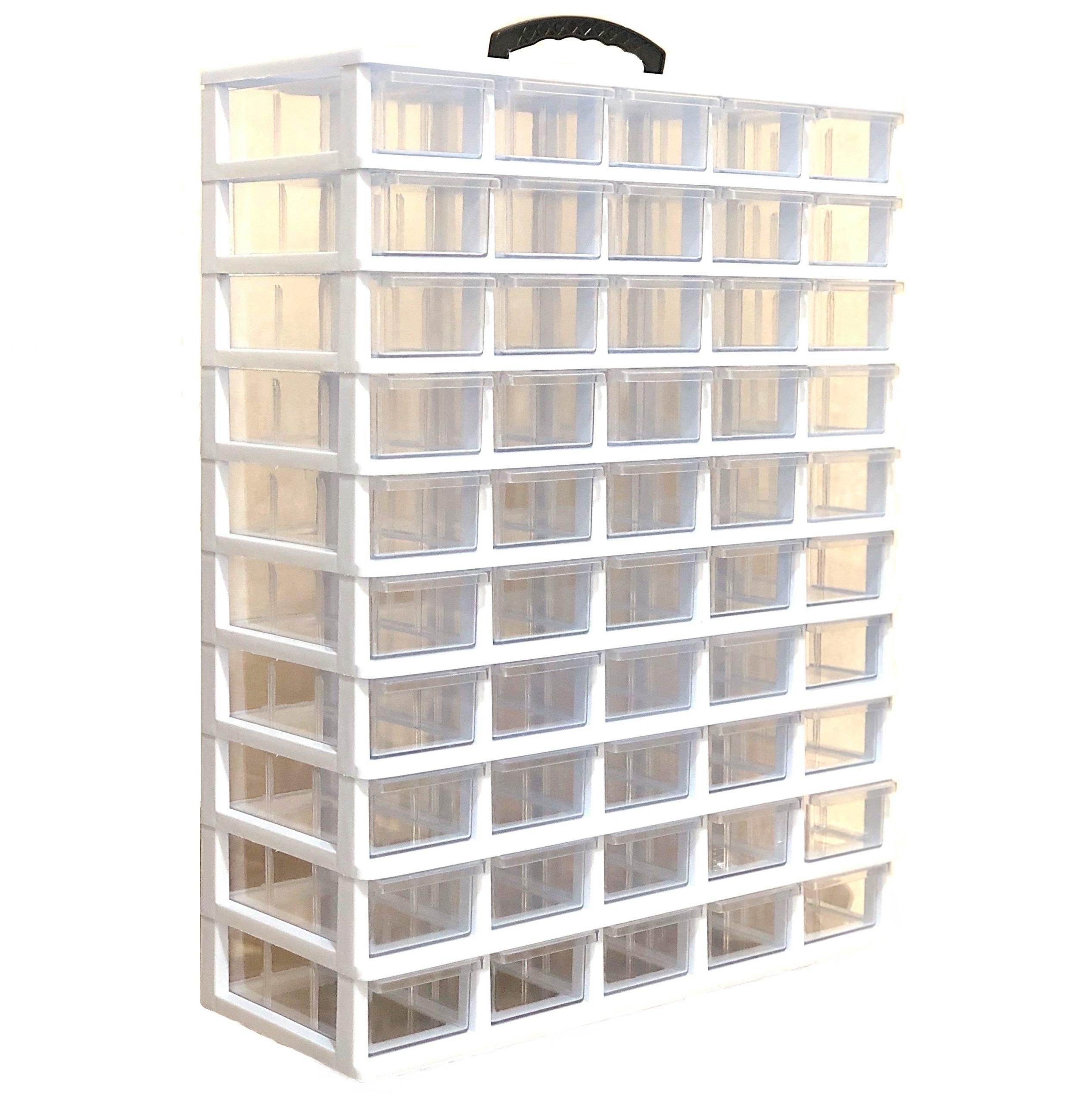 تصویر جعبه قطعات 50 کشو (5*10) کریستالی قناد پلاست Parts Organizer Box