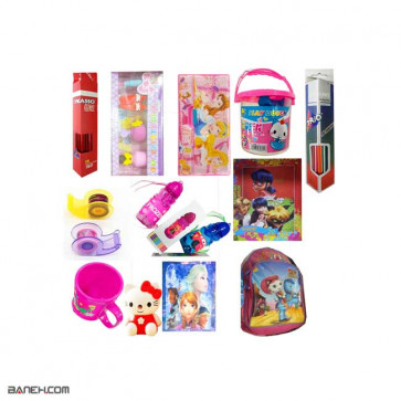 پکیج لاکچری لوازم تحریر پیش دبستانی و کلاس اول دخترانه Luxury package Preschool Girl   Luxury package Stationery Preschool Girl