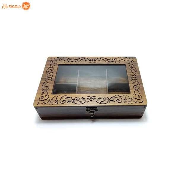 تصویر جعبه تی بگ چوبی 5 خانه شیشه ای