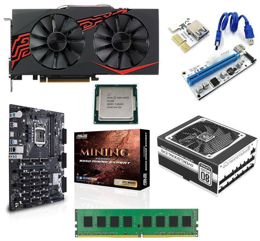 ریگ ماینینگ MC-RIG X۸S ASUS RX۴۷۰ MINING LED-S ۴GB   MIT MC-RIG X8S ASUS RX470 MINING LED-S 4GB GDDR5 MINING RIG
