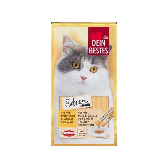 بستنی گربه دین بستس Dein Bestes با طعم مرغ و بوقلمون بسته 8 عددی |