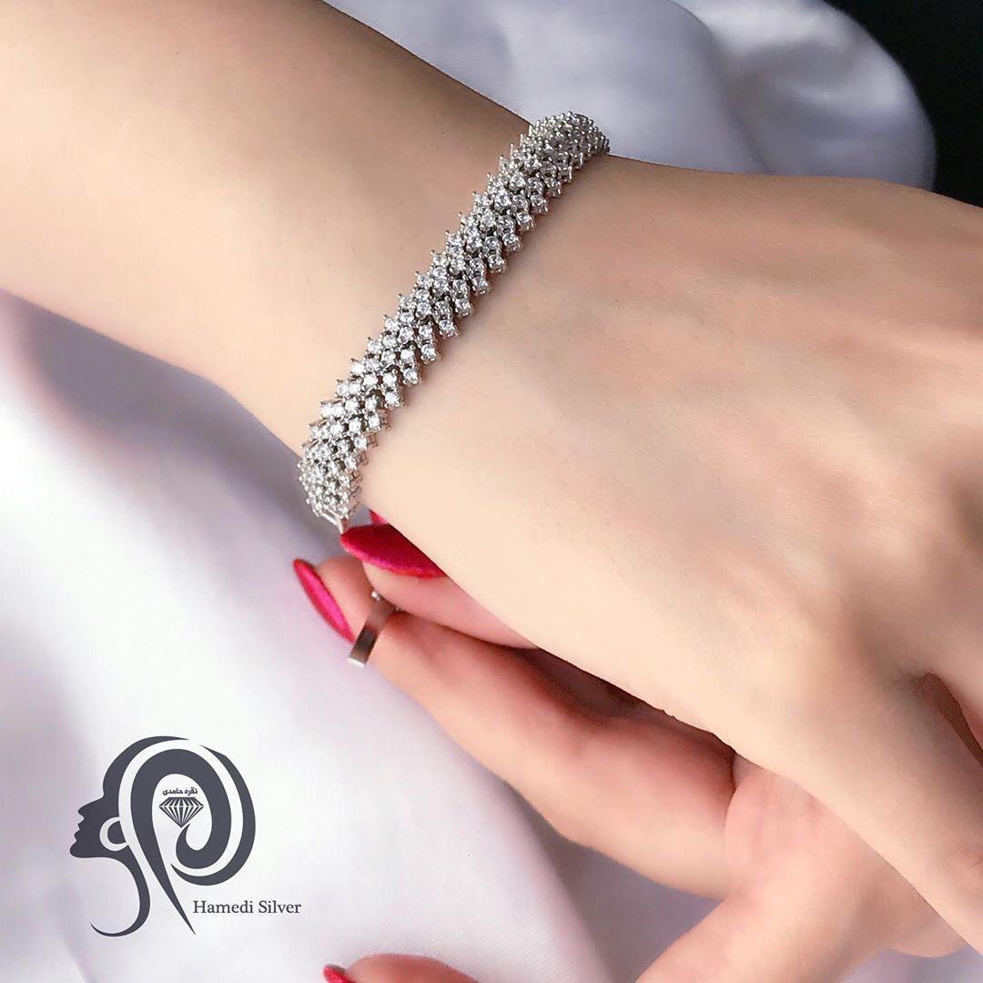 تصویر دستبند نقره MI