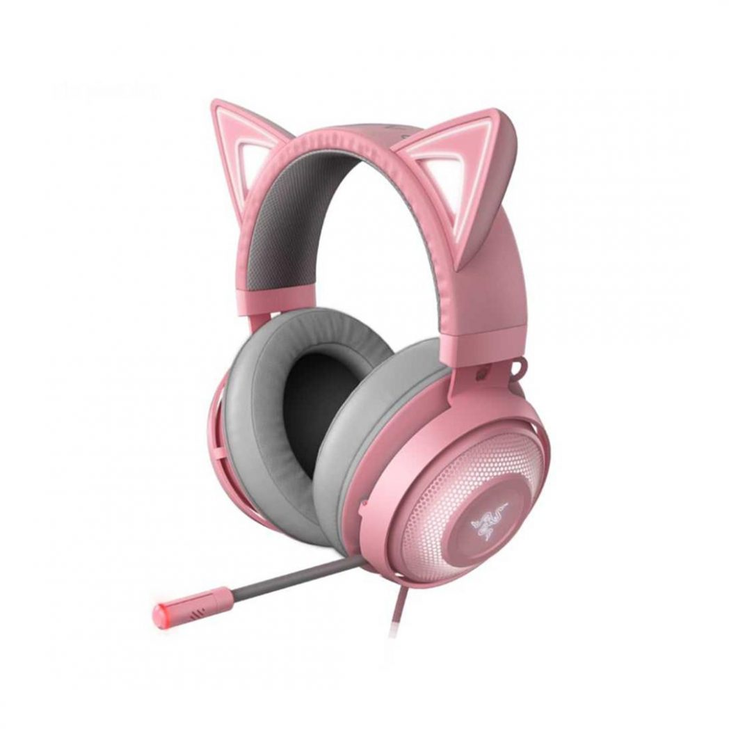 تصویر هدست گیمینگ ریزر Kraken Kitty Quartz Razer Kraken Kitty - Quartz Wired RGB Gaming Headset