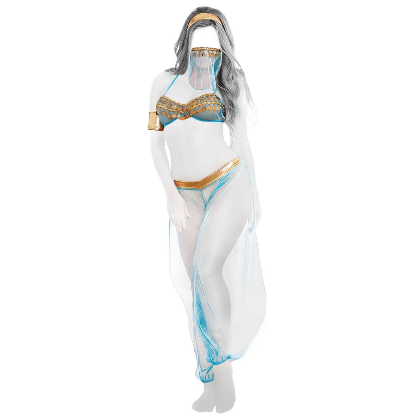 تصویر کاستوم لباس رقص عربی اورجینال توری با شلوار و روبنده