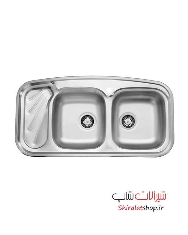 تصویر سینک ظرفشویی توکار استیل البرز Steel Alborz Double Bowl Sink 200