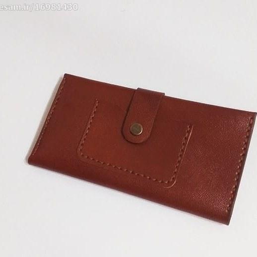 کیف پول و موبایل دست دوز چرم