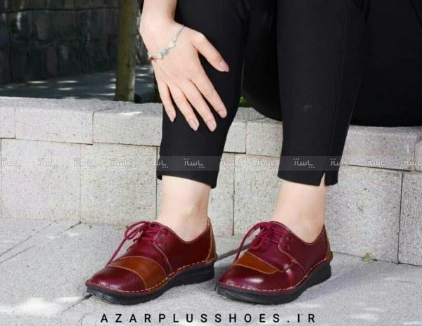 تصویر کفش دخترانه مدل شانلی تمام چرم زرشکی عسلی