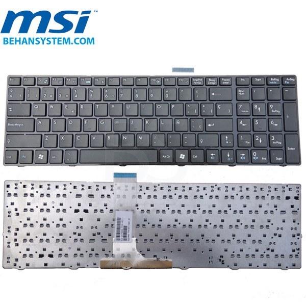 تصویر کیبورد لپ تاپ MSI مدل FX600 به همراه لیبل کیبورد فارسی جدا گانه