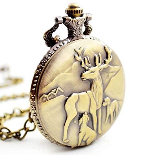 BOSHIYA Men's Pocket Watch Perfect Anniversary Gift Classic Vintage Quartz Watch Animal Pocket Watch Accessories