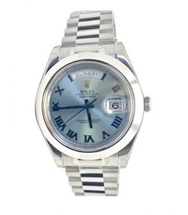 ساعت مچی مردانه رولکس مدل Rolex Datejust II 41mm Ice Blue Dial Platinum President Mens Watch 218206 |