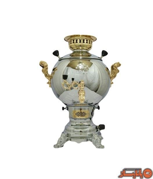 تصویر سماور گازی 6 لیتری مدل توپی قلمکار نیم طلا کروم طاووس