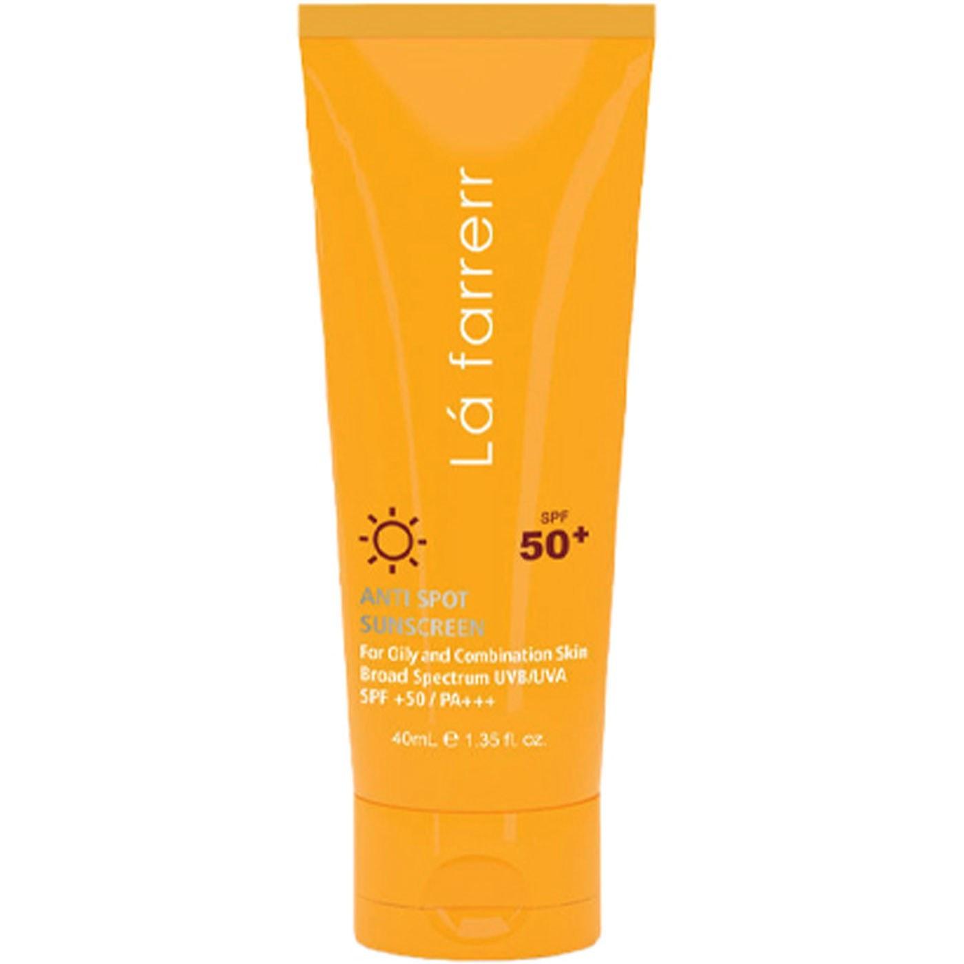تصویر کرم ضد آفتاب و ضد لک بی رنگ لافارر spf50 مناسب پوست چرب و مستعد آکنه 40ml