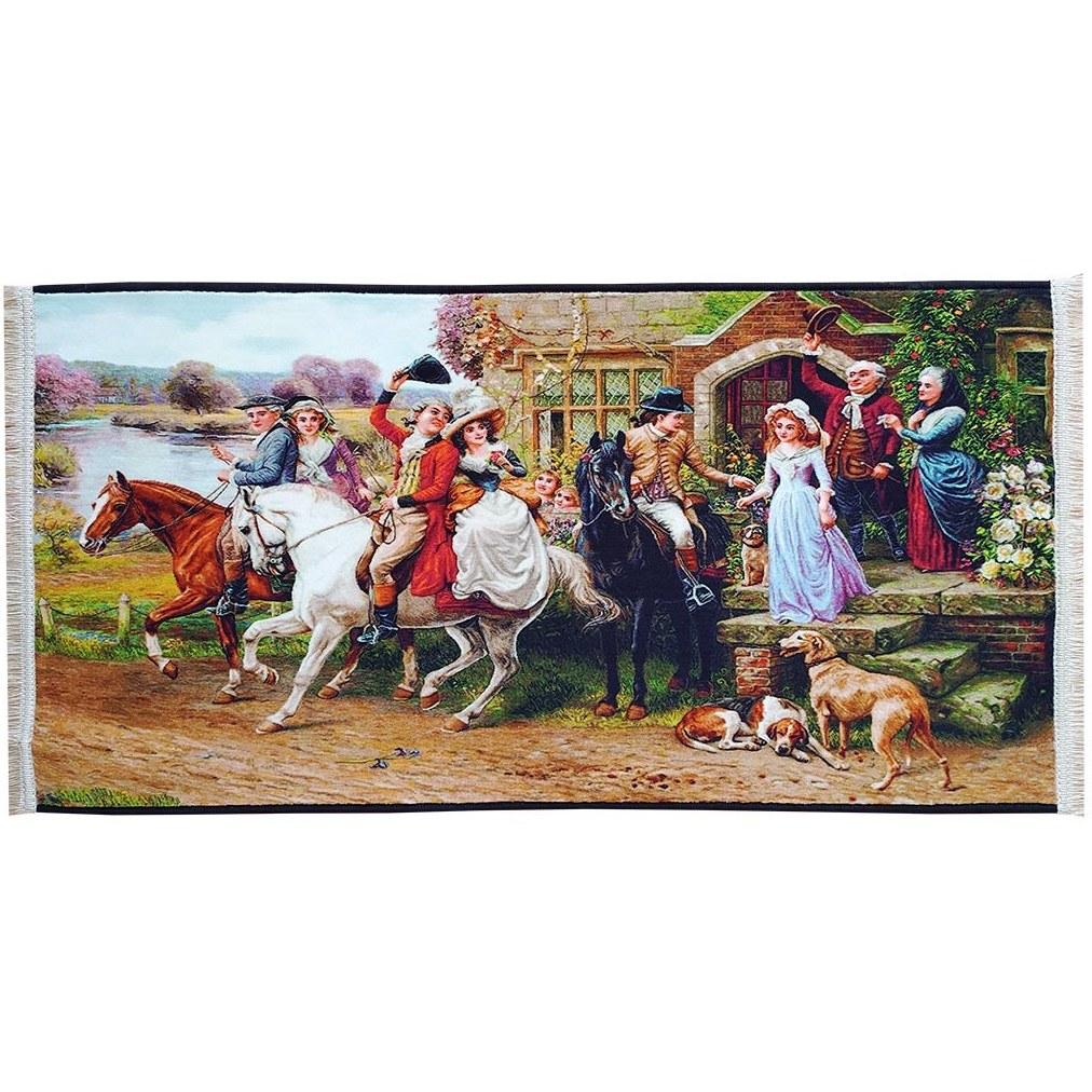 تصویر تابلو فرش بدرقه عروس | تابلو فرش ماشینی فرانسوی 700 شانه کد 18004