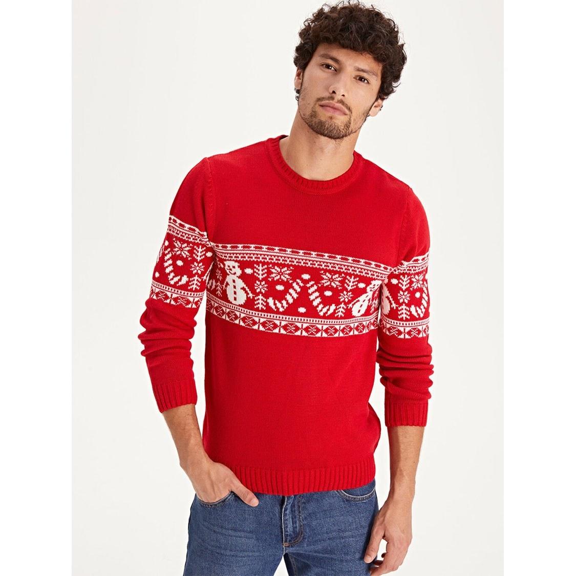 تصویر پلیور طرح کریسمس مردانه ال سی وایکیکی کد 55351