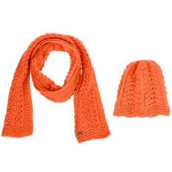 ست کلاه و شال گردن بافتنی زنانه ثمین مدل Apameh رنگ نارنجی