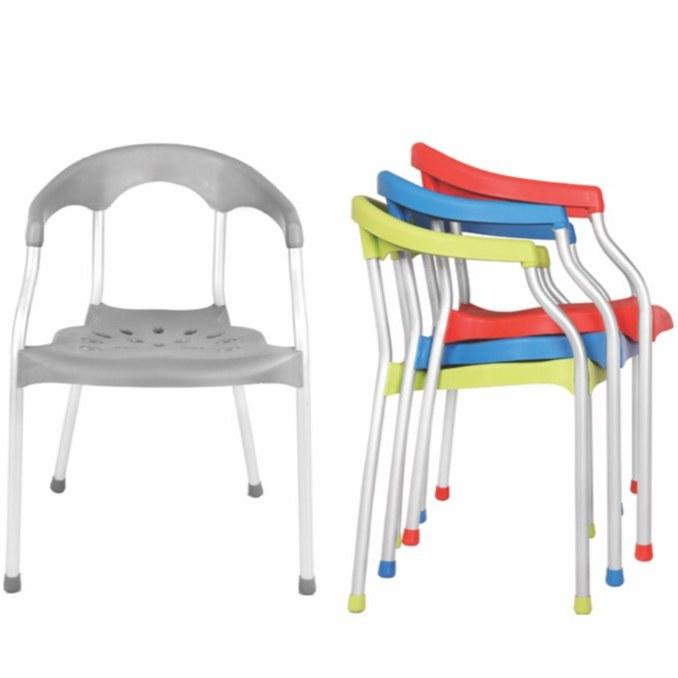 تصویر صندلی حمام آلمینیومی با دسته و پشتی پلاستیکی