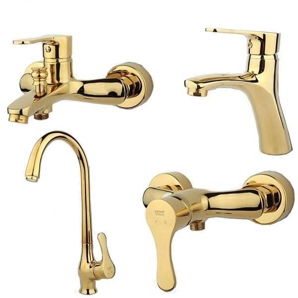تصویر ست شیرآلات راسان مدل صدف طلایی set of Rasan faucets model Sadaf