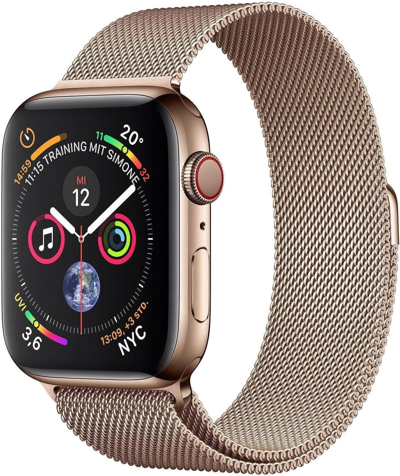تصویر ساعت هوشمند اپل واچ آمریکا Apple Series 4 GPS -Cellular Edelstahlgehäuse mit Milanaise Armband 44mm Watch Watch OS 5