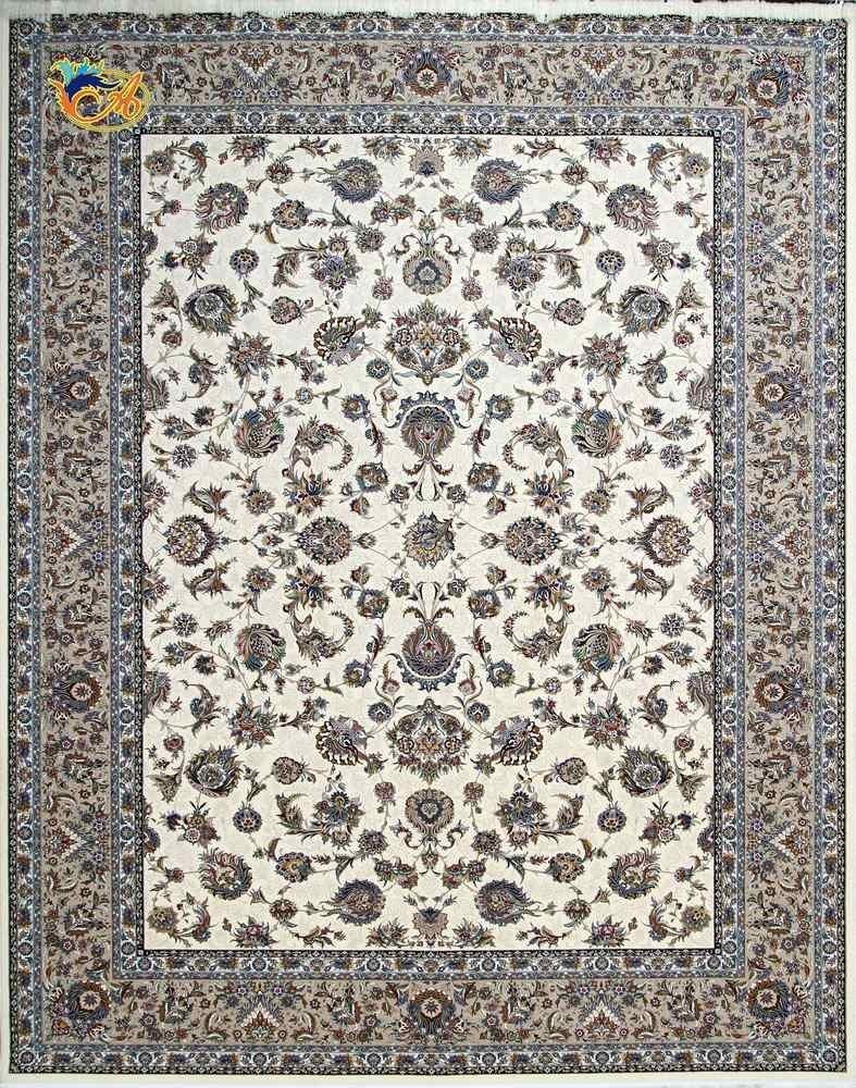 تصویر فرش ماشینی افرند 1250 شانه زمینه کرم کد 24300