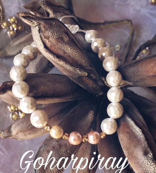 دستبند سنگ صدف تراش دار طلا