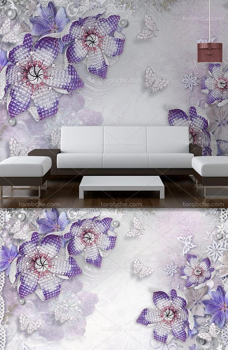 کاغذ دیواری گل های بنفش