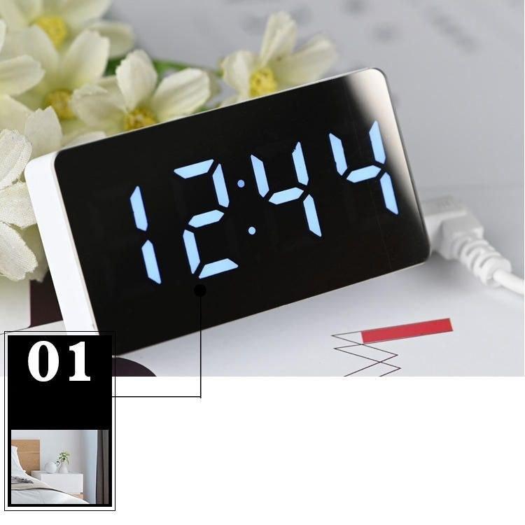 تصویر ساعت و دماسنج دیجیتالی رومیزی آینه ای OS-001