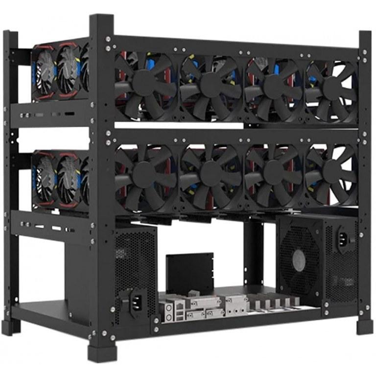تصویر فرم ریگ ماینینگ Mining Rig Frame for 12GPU Mining Rig Frame for 12GPU, Steel Open Air Miner Mining Frame Rig Case, Support to Dual Power Supply for Crypto Coin Currency Bitcoin ETH ETC ZEC Mining Tools - Frame Only, Fans & GPU is not Included