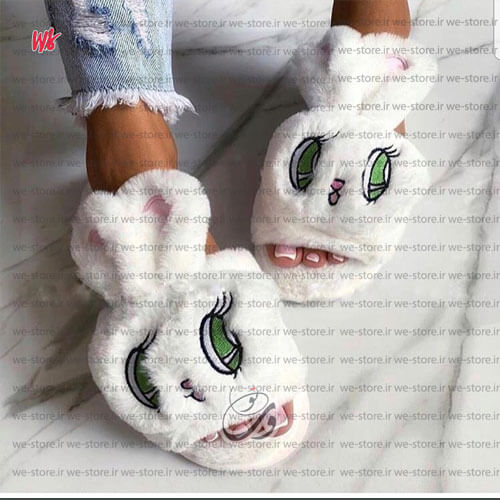 تصویر دمپایی روفرشی دخترانه خرگوشی مدل جلوباز