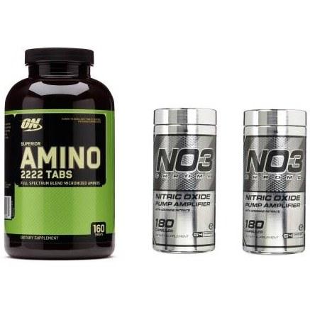 پکیج اپتیموم آمینو 2222 + سلوکور ان او 3 + سلوکور ان او 3   3  Optimum Nutrition Amino 2222 + CELLUCOR NO3 + CELLUCOR NO3