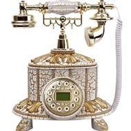 تصویر تلفن رومیزی سلطنتی آرنوس رنگ کرم طلایی مدل 035A