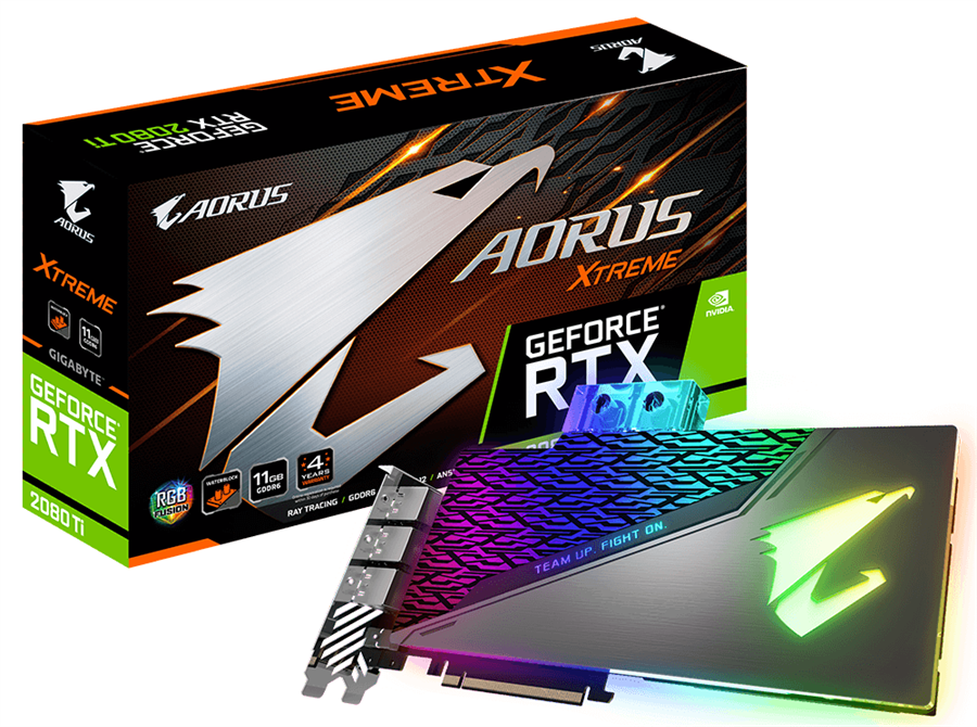 کارت گرافیک گیگابایت مدل AORUS GeForce RTX ۲۰۸۰ Ti XTREME WATERFORCE WB با حافظه ۱۱ گیگابایت | GigaByte AORUS GeForce RTX 2080 Ti XTREME WATERFORCE WB 11G Graphics Card