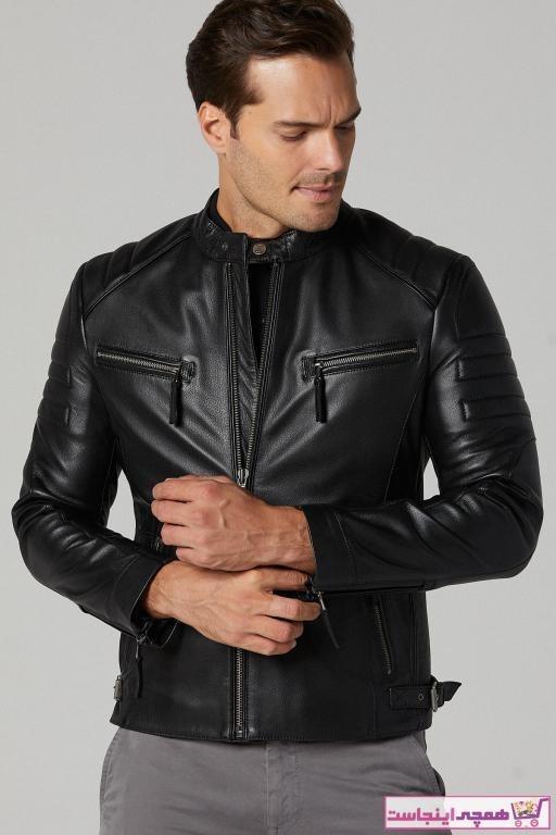 تصویر ژاکت چرم مردانه مدل دار برند Derimod رنگ مشکی کد ty49855432