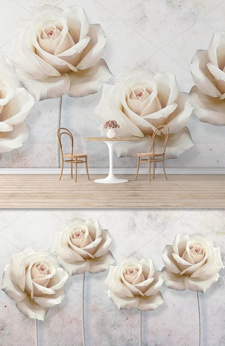 تصویر کاغذ دیواری گل رز صورتی