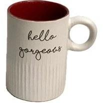 تصویر لیوان ماگ سرامیک سفید داخل قرمز با تکست hello Gorgeous