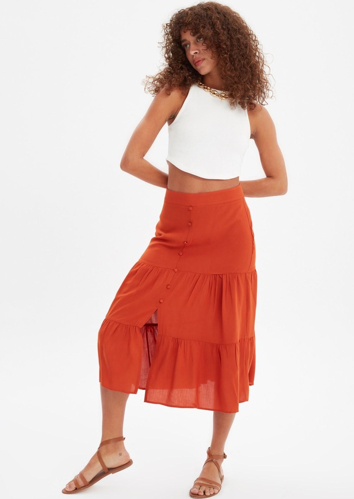 تصویر فروش دامن زنانه خفن برند ترندیول میلا رنگ نارنجی کد ty100108344