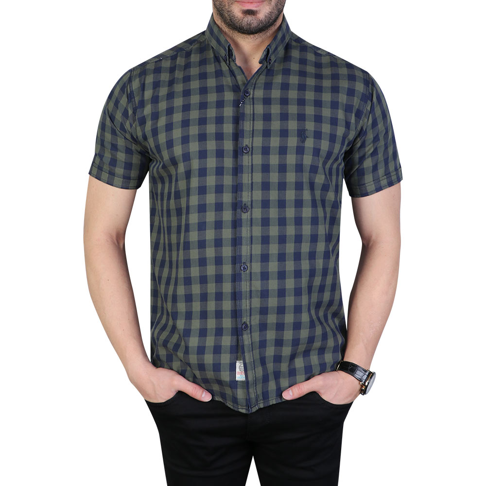 تصویر پیراهن مردانه آستین کوتاه چهارخانه پولو سبز سرمه ای