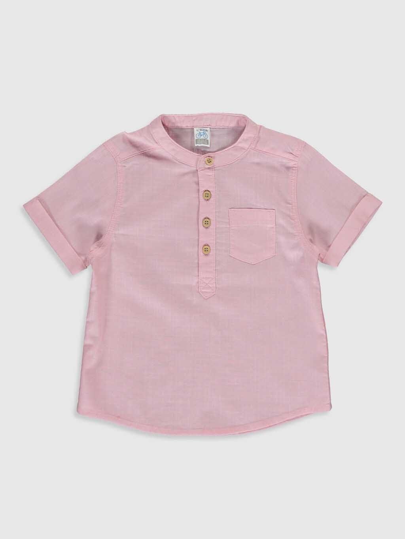 تصویر پیراهن آستین کوتاه یقه ایستاده پسرانه(بچگانه) السی وایکیکی کد : ۰S0435Z1 - QCX - Pembe