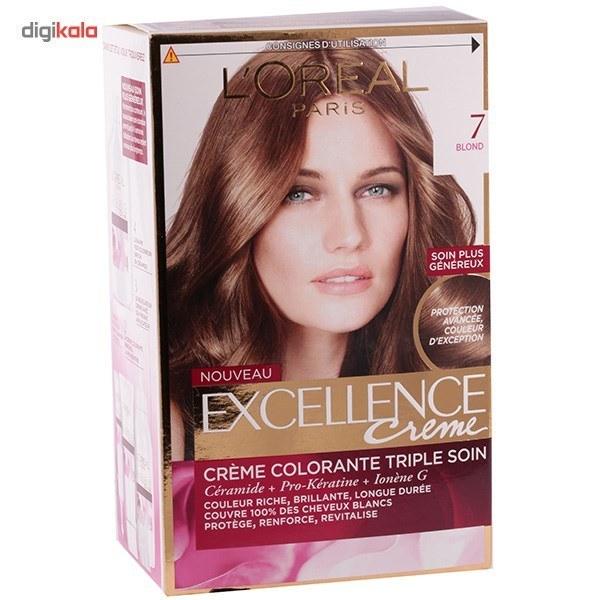img کيت رنگ مو لورآل شماره 7 Excellence LOreal Excellence No 7 Hair Color Kit