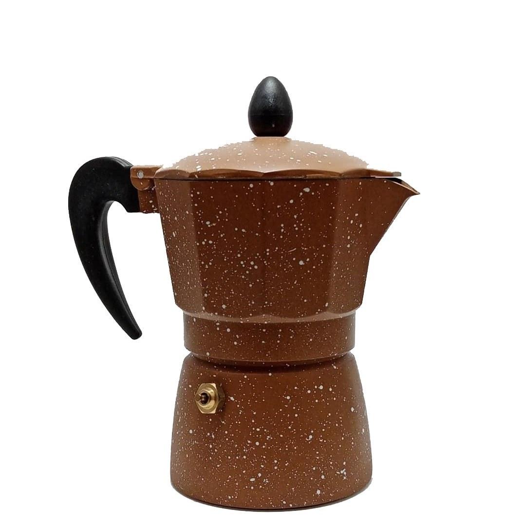 تصویر قهوه جوش دوکاپ -سه کاپ روگازی رنگی خالدار