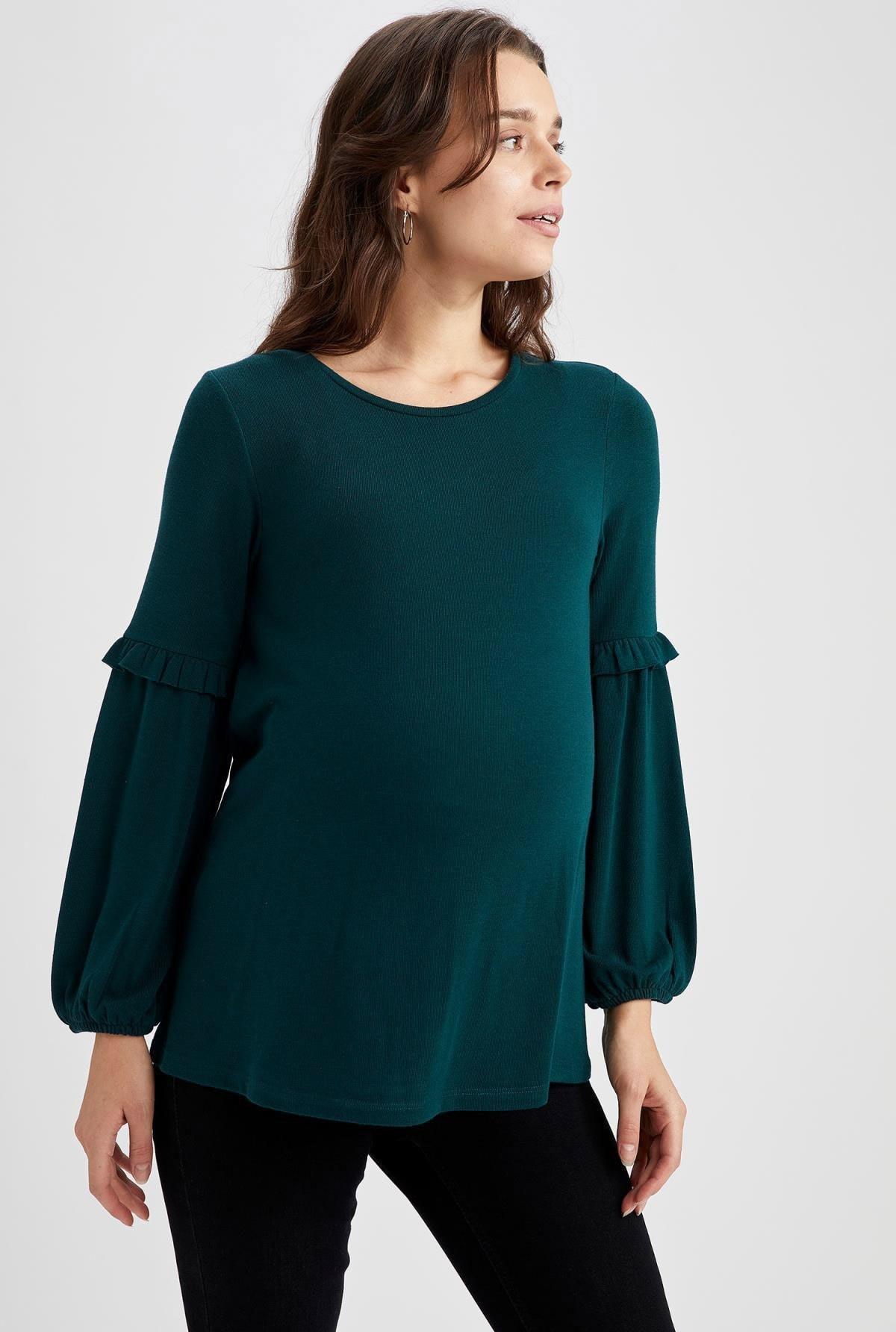 image تیشرت بارداری زنانه Relax سبز برند Defacto کد 1608711841
