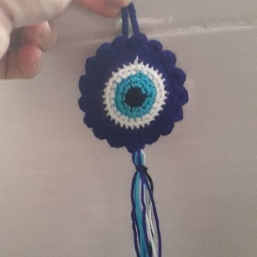 تصویر جا کلیدی چشم نظر بافتنی طرح گل