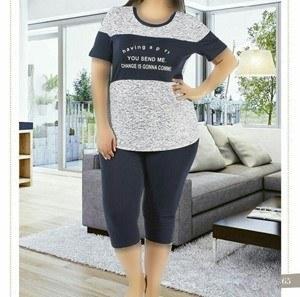 تی شرت شلوارک سایز بزرگ زنانه ترک - 7471 Miss Tiko |