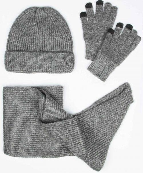 ست کلاه و شال گردن و دستکش بافت ساده