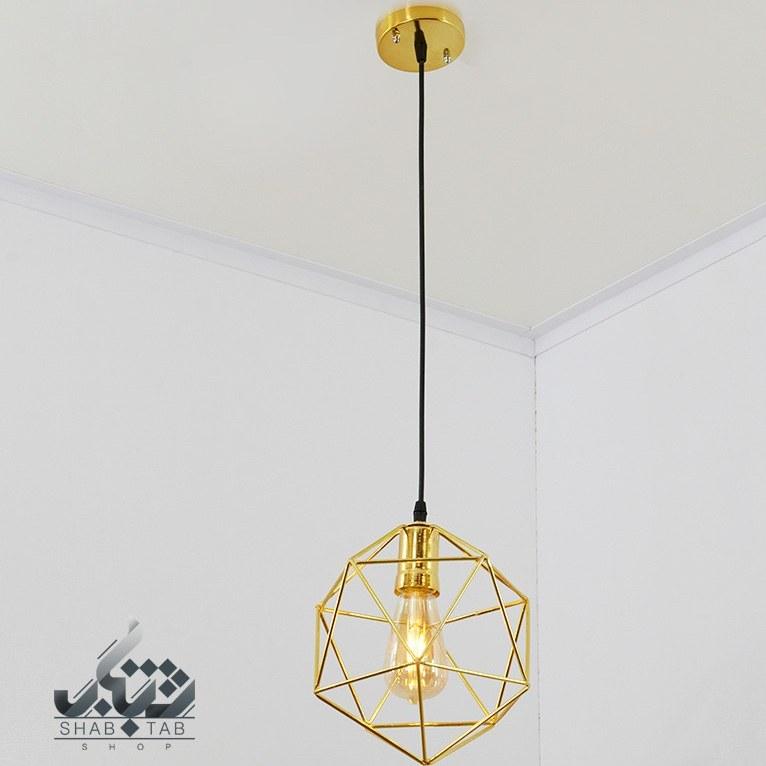 تصویر لوستر آویز فلزی مدرن طلایی کوچک کد 411