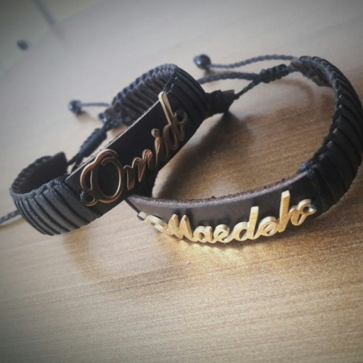 دستبند چرم با اسم دلخواه