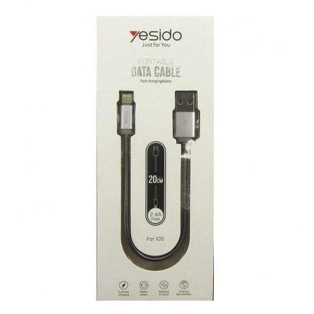 تصویر کابل شارژ لایتنینگ پاوربانکی یسیدو مدل CA-T1 Yesido CA-T1 USB To Lightining Cable 20cm