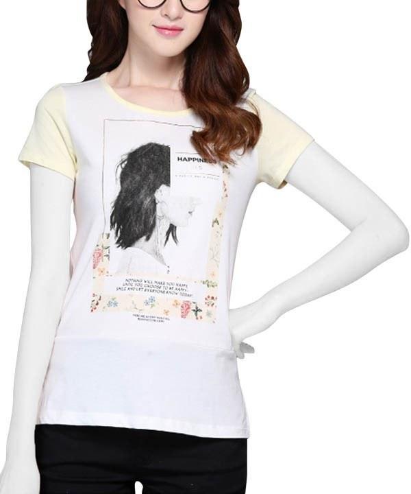 تی شرت دو رنگ زنانه جین وست