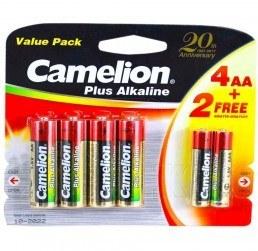 پک باتری ۲ نیم قلمی + ۴ قلمی Camelion Plus Alkaline  